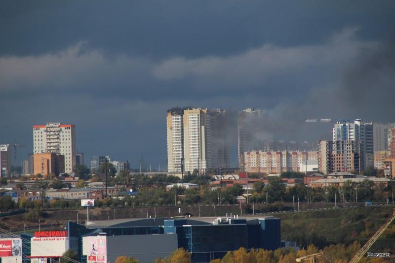 Пожар высотки в Красноярске