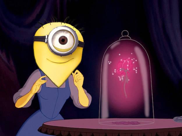 Миньоны в образе принцесс диснеевских мультфильмов