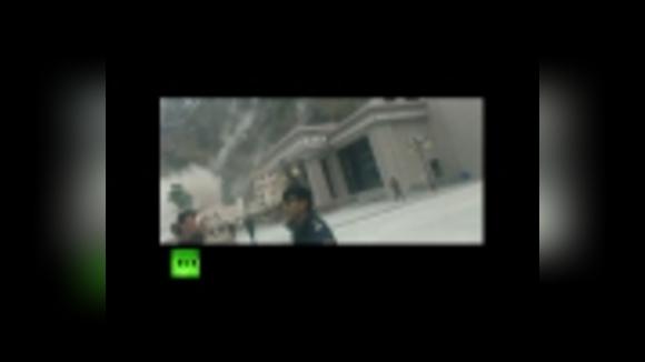 Оползень в Тибете после землетрясения в Непале